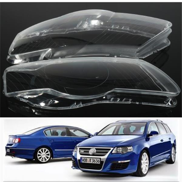 Pair Headlight Lens Cover Plastic Shell Lampshade For VW Passat B6 R36
