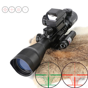 Ohhunt 4-12X50 Hunting Tactical 11mm 20mm Red Laser Combo Riflescope Illuminated Rangefinder Reticle Airsoft Scope Holographic 4 Reticle Sight