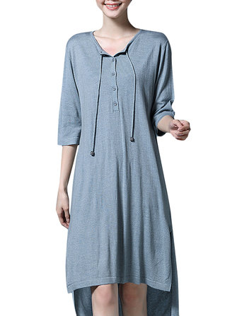 Women Vintage 3/4 Sleeve Split Irregular Long T-Shirt
