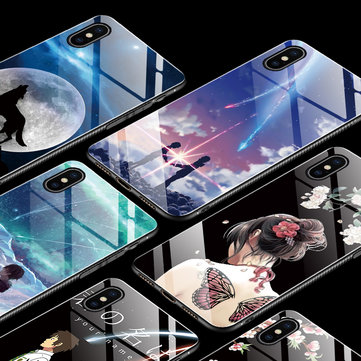 Bakeey Fashion Pattern Tempered Glass Protective Case For iPhone XS Max