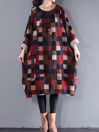 Women Plaid Print Loose Casual O-neck Long Sleeve Dress