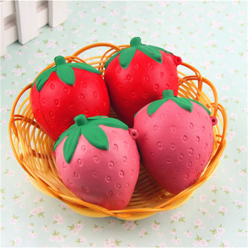 8CM Cute Squishy Strawberry Soft Kawaii Phone Keychain Bags Straps Slow Rising