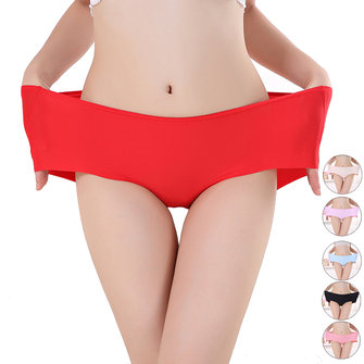 Women Seamless Plus Size Mid Waist Ice Silk Quick Dry Panties Briefs