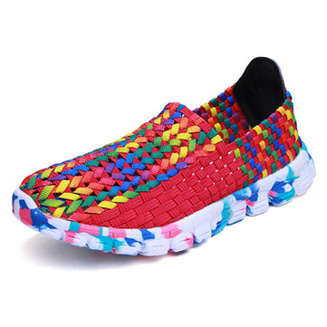 US Size 5-10 Women Casual Hand-made Knitting Shoes Outdoor Breathable Comfortable Flats Shoes