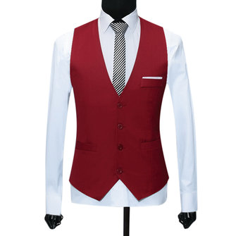 Men Formal Business Waistcoat Slim Single Breasted Suit Vest