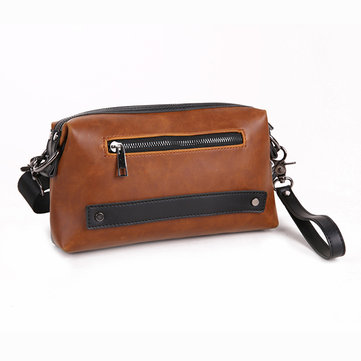 Men PU Leather Clutch Bag Large Capacity Vintage Brown Wrist Purse Crossbody Bag