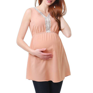 Sleeveless Lace V-neck Maternity Blouse