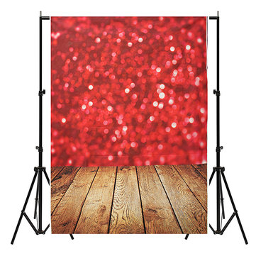 5x7FT Vinyl Valentine's Day Red Heart Wood Floor Photography Backdrop Background Studio Prop