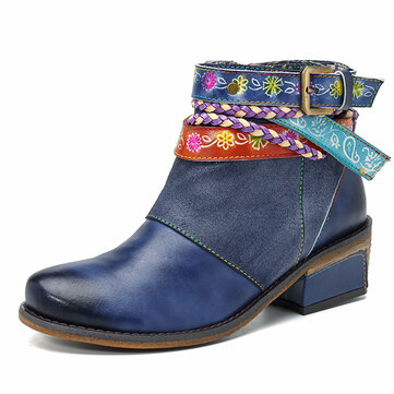 SOCOFY Handmade Weaving Strap Ankle Leather Boots