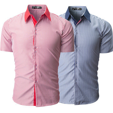 Summer Fashion Business Stripe Printing Short Sleeve Shirt