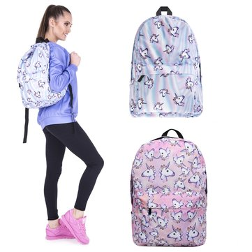3D Unicorn Printing Multicolor Rainbow Girl Backpack School Bag Travel Rucksack