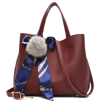 Bucket Bag Handbag Messenger Bag Portable Shoulder Bag Fur Ball Scarf Bag For Women