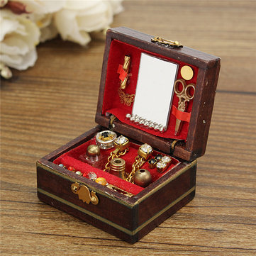 Vintage Wooden Dollhouse Miniature Filled Jewelry Box Case Bedroom Accessories