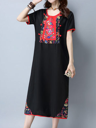 Women Vintage Patchwork Embroidered Dresses Short Sleeve Midi Dress