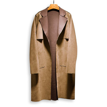ChArmkpR Mens Mid-long Polyester Suede Trench Coat Jacket
