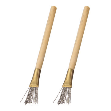 2pcs Wooden Handle Thick Thin Iron Wire Brush Clay Tool