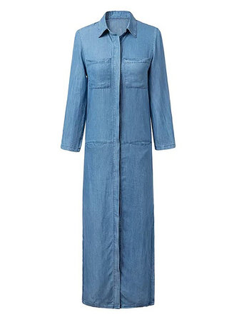 Vintage Casual Women Lapel Pockets Long Sleeve Split Denim Dress