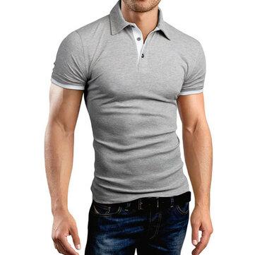 Men's Casual Walking Shirt Short Sleeve T-Shirts Cotton T-Shirt Button Casual Slim Top