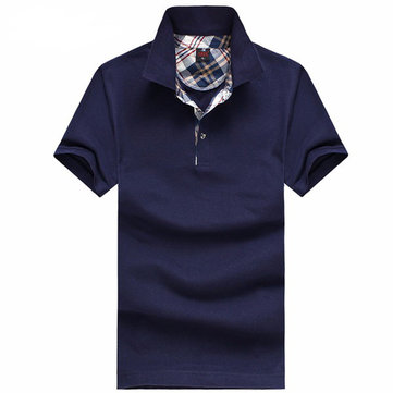 Men's Cotton Lapel POLO Shirt Solid Color Casual Short Sleeve Tops Tees