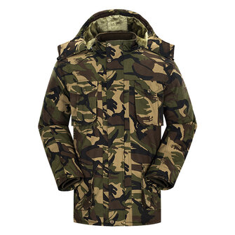 Mens Military Outdoor Camouflage Thick Fleece Multi Big Pockets Hooded Jacket Warm Parka
