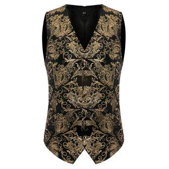 Mens Gold Floral Dress Vest Fit Printing Casual Suit Vest