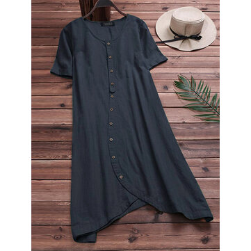 S-5XL Casual Women Cotton Loose Short Sleeve Irregular Hem Shirt Dress