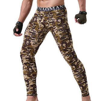 Sexy Long Johns High Elastic Camo Printing Modal Breathable Thermal Underwear Pajama Bottoms for Men