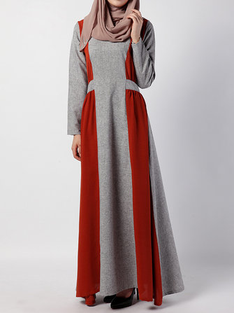 Casual Women Long Sleeve Patchwork Zipper Maxi Dresses