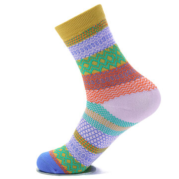 Unisex Women Men Harajuku Style Stripe Cotton Socks Design Multi-Color Mid Calf Hosiery