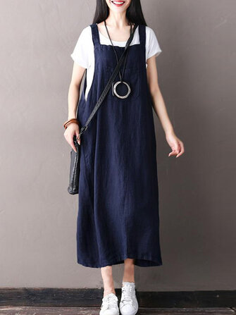 Women Sleeveless Strappy Casual Loose Pure Color Dresses