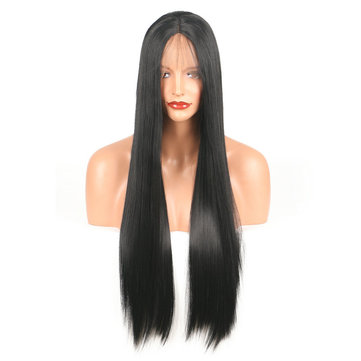 26 Inch Black Hair Wig For Women Long Straight Lace Front Full High Temperature Silk Fiber Hair