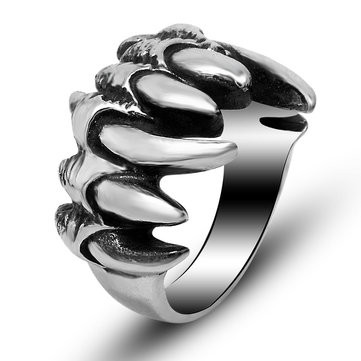 Men's Punk Retro Dragon Claw Ring Stainless Steel Biker Ring for Men Halloween Gift