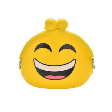 Emoji Silica Gel Coins Bag Round Emotion Smiley Doll Makeup Storage Pouch Handbag