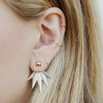 5Pcs Leaf Geometric Earring Set Gold Rings Ear Clip Jewelry Gift for Girls Women