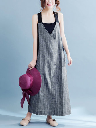 Women Casual Stripe Sleeveless Strappy Pocket Mid-long Dresses