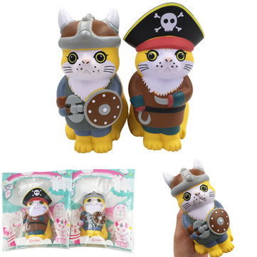 SquishyFun Squishy Viking Pirate Cat Kitten Cosplay 13.5*9*7CM Licensed Slow Rising With Packaging
