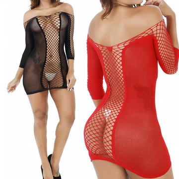 Sexy Erotic Fish Net Perspective Bodystocking Off Shoulder Hollow Out Lingerie Nightdress