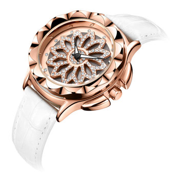 MEGIR 2059 Women Leather Rotate Dial Diamond Quartz Watch