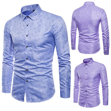 Mens Printing Fashion Long Sleeve Purple Designer Shirts