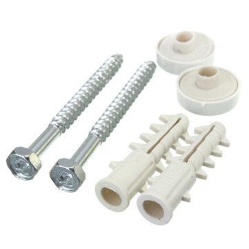 WC Toilet Pan Bidet Fixing Kit Set Screws Plugs Plastic Washers With White Caps