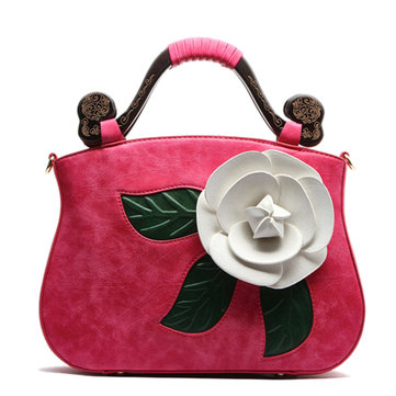 Vintage Fashion PU Leather Rose Decorative Handbag Crossbody Bag For Women