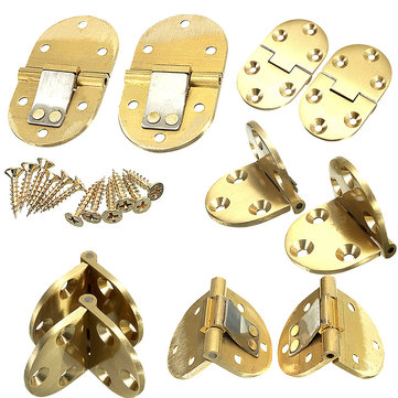 2pcs Solid Brass Butler Tray Hinge Round Edges With Screws