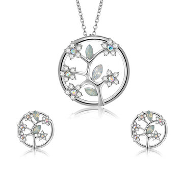 Fashion Silver Bridal Jewelry Set Tree of Life Rhinestones Flower Necklaces Stud Earrings for Wome
