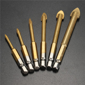 6pcs 4-12mm Hex Shank Tungsten Carbide Glass Drill Bit Cross Spear Point Head Drill Bit