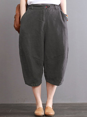 S-3XL Women Pure Color Cotton Pant
