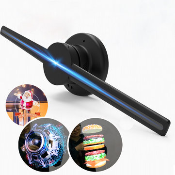 iDiskk 3D Full Naked Eye Hologram LED Fan Store Advertising Holographic Display Rotation Projection Black