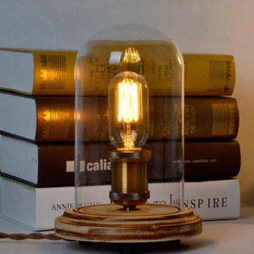 E27 Vintage Wooden Glass Table Lamp Desk Light for Bedroom Indoor