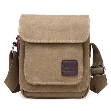 Men Canvas Vertical Crossbody Bag Casual Outdoor Shoulder Messenger