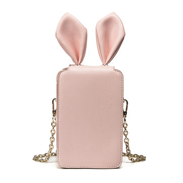 6 Inches Cell Phone Women Cute Rabbit Ear Pu Leather Crossbody Bag
