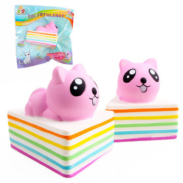 Sanqi Elan Triangle Rainbow Cat Squishy 13*10*10.5CM Slow Rising With Packaging Collection Gift